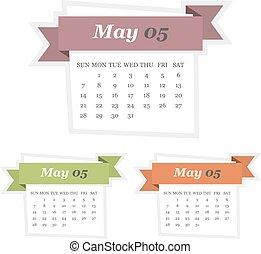 plat, ensemble, mai, conception, 2017, calendrier, ruban