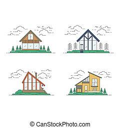 plat, ensemble, maison, moderne, illustration, vecteur, ligne