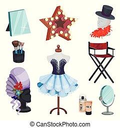 plat, ensemble, miroirs, salle, costumes, maquillage, cosmétique, icons., mannequin, vecteur, coiffeuse, robe, éléments