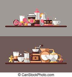plat, ensemble, moderne, café-boutique, boulangerie, éléments, conception, café