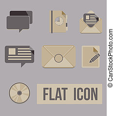 plat, ensemble, modes, icônes, message., vecteur