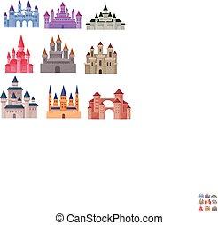 plat, ensemble, moyen-âge, tours, grand, toits, élevé, vecteur, palais, conte, fée, conique, castles.