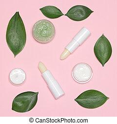 plat, ensemble, naturel, lèvre, poser, peau, produits, soin