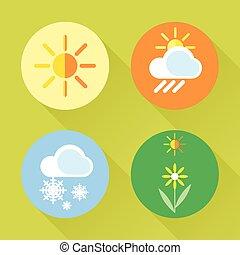 plat, ensemble, neige, temps, soleil, style.