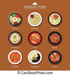 plat, ensemble, nourriture, asie, arrière-plan., rue,...