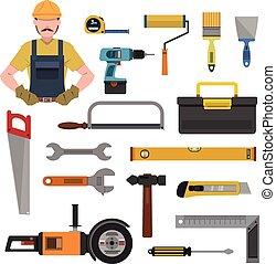 plat, ensemble, outils, icônes