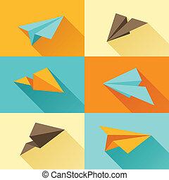 plat, ensemble, papier, conception, avions, style.