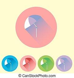 plat, ensemble, parapluie, coloré, icône