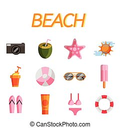 plat, ensemble, plage, icône
