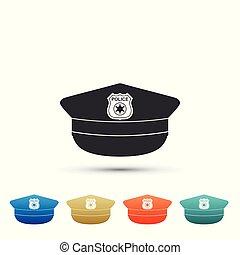 plat, ensemble, police, coloré, icône, signe., casquette, isolé, icons., arrière-plan., vecteur, illustration, blanc, cockade, chapeau, éléments, design.