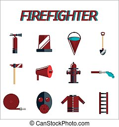 plat, ensemble, pompier, icône