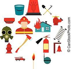 plat, ensemble, pompier, icônes