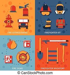 plat, ensemble, pompier