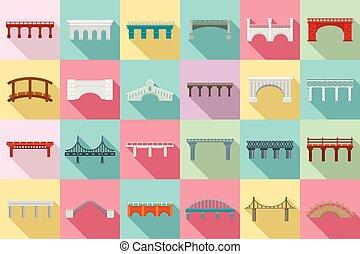 plat, ensemble, ponts, style, icônes