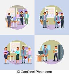plat, ensemble, processus, illustration, embauche, vecteur, icône