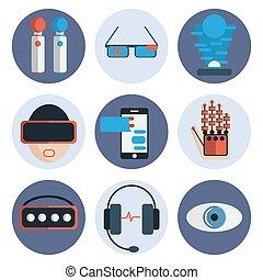 plat, ensemble, réalité, virtuel, icône