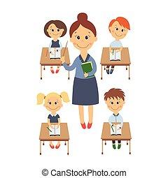 plat, ensemble, séance, enfants, bureau, vecteur, prof