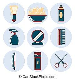 plat, ensemble, salon coiffure, icône
