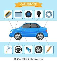 plat, ensemble, service, icônes, voiture, inforgaphic, vecteur