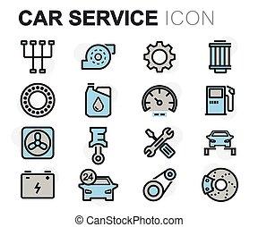 plat, ensemble, service, icônes, voiture, vecteur, ligne