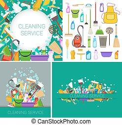 plat, ensemble, service, vecteur, vert, nettoyage, backgrounds.