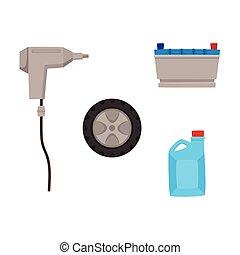 plat, ensemble, service, voiture, icônes, vecteur, entretien