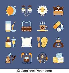 plat, ensemble, symbole, insomnie, insomnie, icône, meute