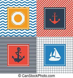 plat, ensemble, symboles, conception, nautique, cartes, style.