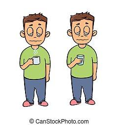 plat, ensemble, tasse, illustration., character., isolé, jeune, arrière-plan., vecteur, conception, deux, malade, blanc, homme, icon., dessin animé, figures.