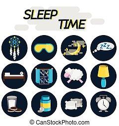 plat, ensemble, temps sommeil, icône