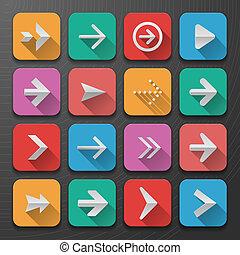 plat, ensemble, tendance, icônes, flèches, ui, conception