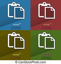 plat, ensemble, toile, couleur, paper., moderne, text., espace, long, bouton, vide, ombre, ton