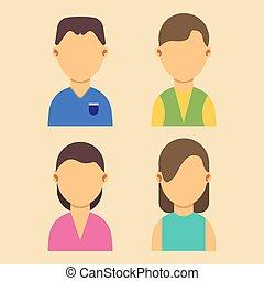 plat, ensemble, toile, hommes, gens, illustration, vecteur, avatar, caractères, portrait, femmes, dessin animé, design.