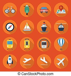 plat, ensemble, transport, icône