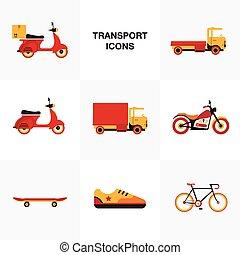 plat, ensemble, véhicule, transport, icône