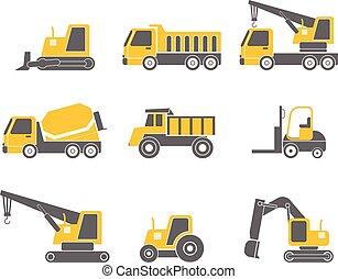 plat, ensemble, véhicules, isolé, illustration, fond, vecteur, conception, construction, blanc, icône