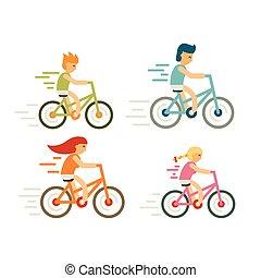 plat, ensemble, vélo, activités, distillation, course, famille, moderne, fetes, cavalier, en mouvement, loisir, style., cycle