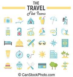 plat, ensemble, voyage, collection, symboles, tourisme, icône