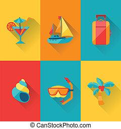 plat, ensemble, voyage, conception, tourisme, style., icône