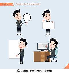 plat, ensemble, whiteboard, bureau, business, activités, introduction, caractère, -, jeune, télémarketing, concept, ouvrier, style, dessin, calculer, bannière