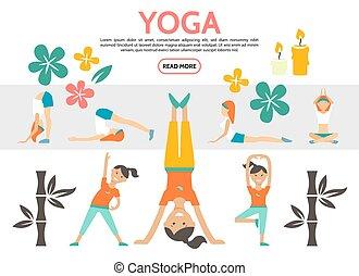 plat, ensemble, yoga, éléments