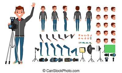 plat, entiers, pictures., photographe, prendre, caractère, isolé, illustration, figure, poses, accessoires, length., vector., émotions, homme, gestures., animé, dessin animé, set.