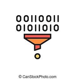 plat, entonnoir, tri, filtre, tunnel, vecteur, ligne, données, icon., couleur