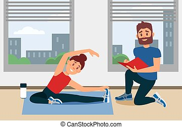 plat, entraîneur, séance, folder., grand, notes, windows., jeune, floor., écriture, vecteur, conception, fitness, intérieur, girl, gymnase, exercice