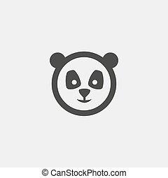 plat, eps10, illustration, color., vecteur, conception, noir, panda, icône