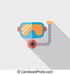 plat, eps10, masque, long, snorkel, icône, ombre