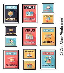 plat, eps10, set, poster, ziekenhuis, ontwerp, achtergrond,...