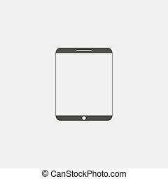plat, eps10, tablette, illustration, color., vecteur, conception, noir, icône