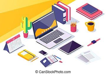 plat, espace de travail, mobile, tablette, ordinateur portable, calendar., téléphone, bureau