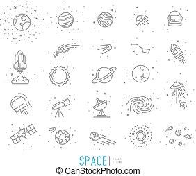 plat, espace, icônes